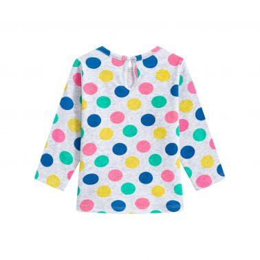 Детска блуза на точки и щампа сърчице в сиво