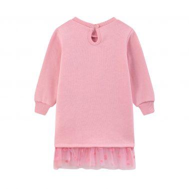 Детска ватирана рокля с щампа сърчице и дъга в розово