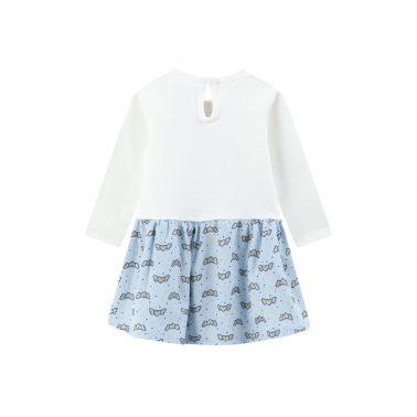 Детска ватирана рокля с ефектна долна част и сърчице в бяло