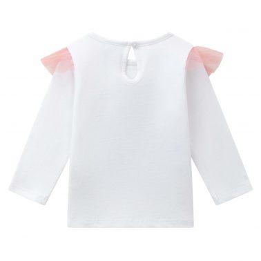 Детска блуза с хипопотам с близалка и тюл в бяло
