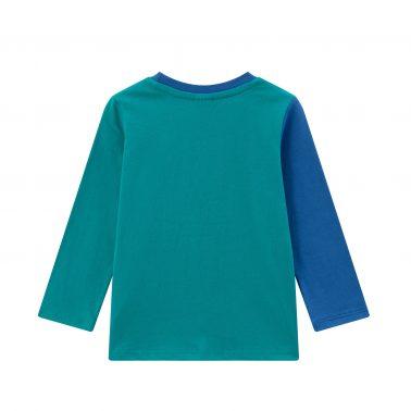 Детска блуза абстрактен модел с два контрастни плата в синьо