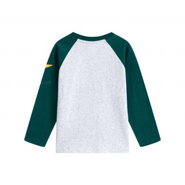 Детска блуза с щампа динозавър и контрастни ръкави в сиво