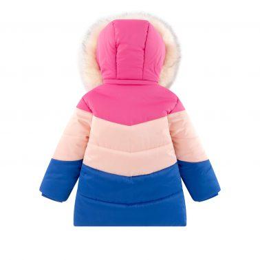 Детско зимно яке с пух на качулката в розово